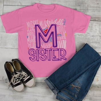 Girl's Middle Sister T Shirt Typography Tee Matching Sibling Shirts Cute Tees Baby Announcement Shirt