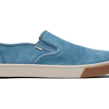TOMS - Men's Topanga Collection Baja Sky Blue Suede Slip-Ons