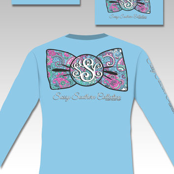SALE Sassy Frass Collection Preppy Paisley Big Bow Long Sleeve Bright Girlie T Shirt