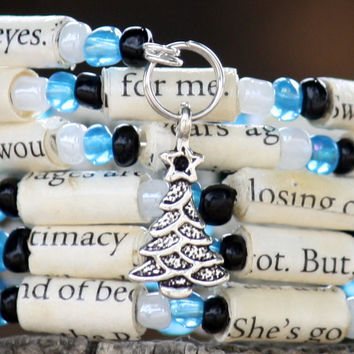 The Fault in Our Stars - Spiral Wrap Bracelet - Memory Wire - Upcycled Book - Black Teal and White