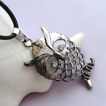 Stylish Shiny Jewelry Gift New Arrival Strong Character Owl Pendant Necklace [6543884035]