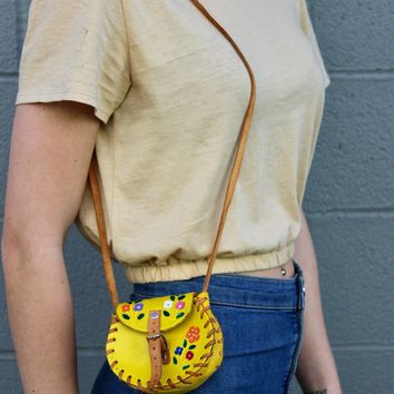 Vintage Yellow Floral Coin Purse