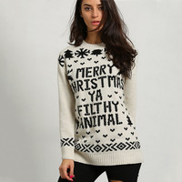 Christmas Letter Print Snowflakes Pattern Sweater