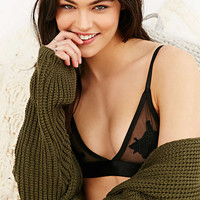 Serena Black Applique Bralette - Urban Outfitters