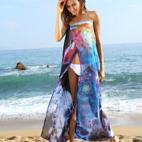 Sexy Floral Pattern Chiffon Wrap Dress Beach Bikini Swimwear Cover-up = 1955896900