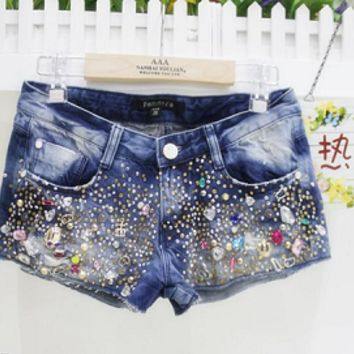 Sequin Flare Beading Jeans Shorts Women American Apparel Blue Ripped Jean Shorts Femme American Sweets Girls Shorts
