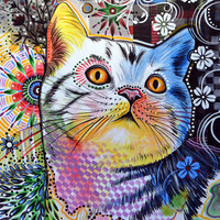"Amy Giacomelli Cat art ... Abstract cat Art ... Chloe, 8 1/2"" x 11"" Print of cat painting"