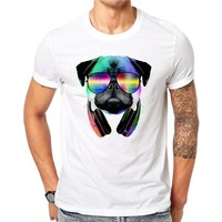 100% Cotton Summer Pug Dog Headphone DJ Cool Design Slim Fit T Shirt Men French Bulldog Tops Hipster Tees Boy Male