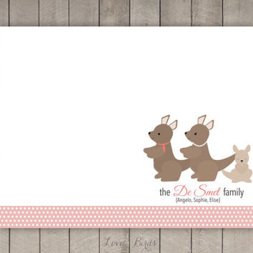 Personalized Kangaroo Family Note Card