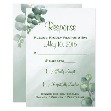 Eucalyptus Watercolor Wedding RSVP Card