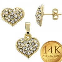 Gold Layered Women Heart Earring and Pendant Adult Set, with White Crystal, by Folks Jewelry