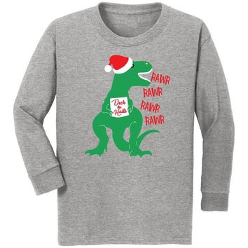 Dinosaur Deck The Halls Shirt Heather Gray Boy