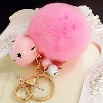 2017 Creative 8cm Rabbit Fur Keychain Fluffy Fur Pom Pom Keychain Pompons Keyring Metal Bells Key Chains Bag Charm Pendant