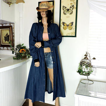 b2b50c4cb72 Long denim duster coat   size M   vintage extra long jean jacket