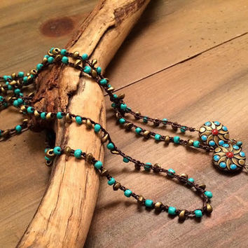 Boho Lariat, Crochet Beaded Necklace, Lariat Necklace, Turquoise and Gold, Country Girl, Country Lariat Necklace