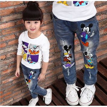 DCCKL3Z Brand Kids Baby Boys Girls Jeans 2016 Cartoon Character Printed Casual Denim Pants Spring and Autumn New Jeans For Children Pant