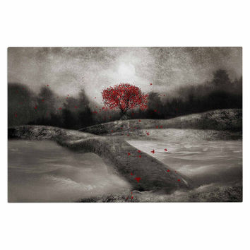 "Viviana Gonzalez ""The Red Sounds And Poems 1"" Black Tree Decorative Door Mat"