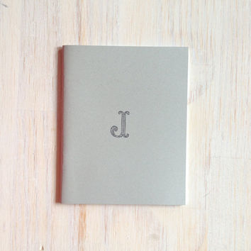 Medium Notebook: Monogram Notebook, Monogram, J, Gray, Blank Journal, Wedding, Custom, Monogram Journal, Unique, Gift, Stocking Stuffer
