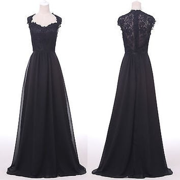 Sexy Women Vintage Lace Evening Dress Formal Long Prom Dresses Pageant Ballgowns