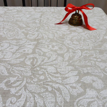 Linen tablecloth 54 X 120 Very nice Natural linen table cloth White Damask tablecloth