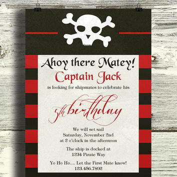Instant Download-Pirate Skull Stripes Nautical Vintage DIY Printable Birthday Party Baby Boy Shower Bridal Wedding Invitation Template