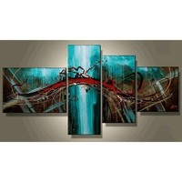 Abstract Lines Modern Art 100% Hand Painted Oil Painting on Canvas Wall Art Deco Home Decoration (Unstretch No Frame)