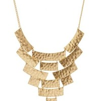 Gold Hammered Metal Bib Necklace by Charlotte Russe