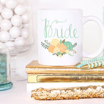 Fancy Floral Bride Mug- Bride To Be Engagement Gift