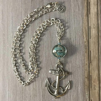 Big Silver Anchor, Nautical Necklace, Blue Green, Lamp Work Bead, Silver Foil, Art Bead, Unisex Gift