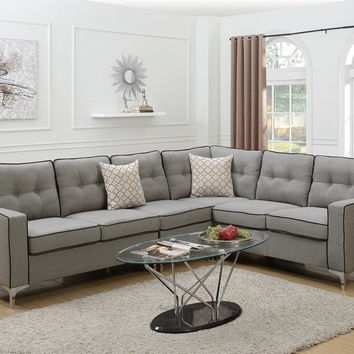 Poundex F6888 4 pc Sampson II collection light grey linen like fabric upholstered sectional sofa with armless chair