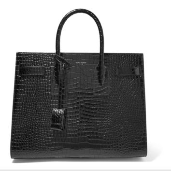 Saint Laurent Ysl Small sac de jour bag black crocodile embossed leather