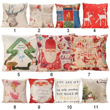 Free Shipping Christmas Cushion Cover Xmas Ambience Square Pillow Case Sofa Home Christmas Gifts ASLT