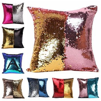 Two Tone Mermaid Sequin Throw Pillow Cover