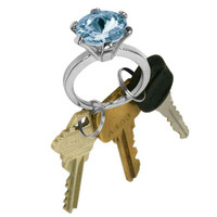 Bling Diamond Ring Key Chain - Topaz Color Stone