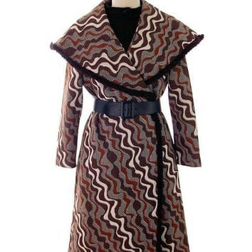 Vintage 1970s Polyester Abstract Textured Coat and Dress Alfred Werber 37-28-39