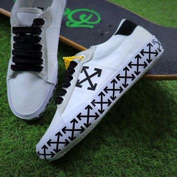 LMFON Best Online Sale Off White Vulcanised Arrows Sneakers White/Black Canvas Shoes