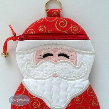 Santa Claus in Red with Gold Swirls Gift Holder Grab Bag Zipper Case