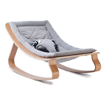 Levo Beech Wood Baby Bouncer Grey Charlie Crane Design Baby