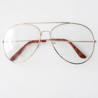 Final Sale - Clear Lens Aviator Glasses
