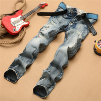 Ripped Holes Slim Pants Strong Character Jeans [6543701187]