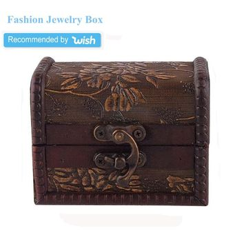 Stylish Vintage Small Metal Lock Jewelry Treasure Chest Case Manual Wood Box (Random Style)