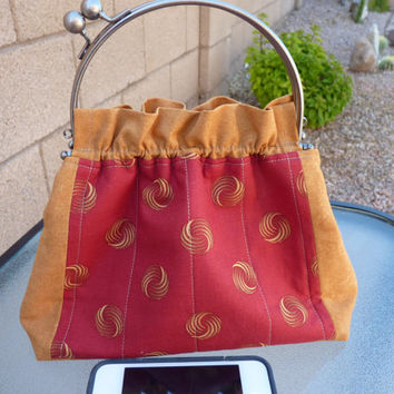 Handcrafted Fabric Purse/Handbag with Kiss Lock Handle Frame in Red and Rich Tan