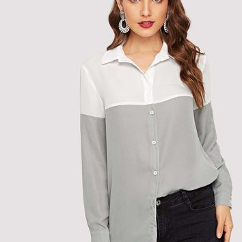 Two Tone Button Up Shirt