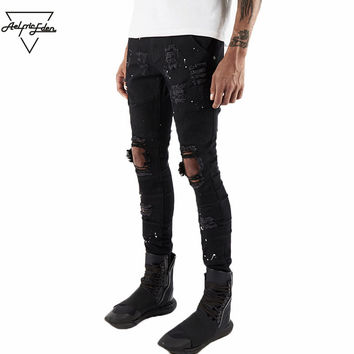 Man Holes Biker Jeans Punk Rock White Dot Black Jean Hip Hop Jeans Men Fashion Wild Scratched Skinny Jeans