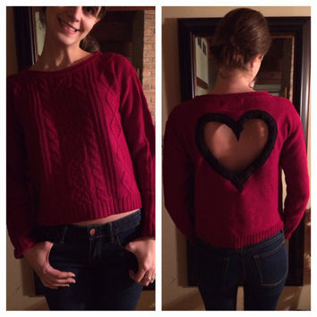 Christmas Crop Sweater with heart back Cable Knit in RED Upcycled Sweater heart back