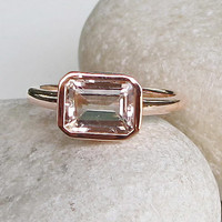 SALE Rectangle Morganite Ring- Rose Gold Ring- Morganite Ring- Bridal Ring- Promise Ring- Engagement Ring- Anniversary Ring- Wedding Ring