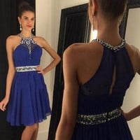 Halter Short Royal Blue Homecoming Dress, Dress for Homecoming