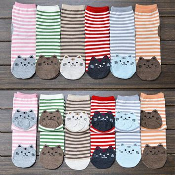 Fun Striped Kitty Ankle Socks