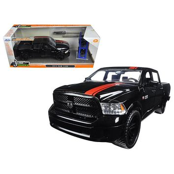 "2014 Dodge Ram 1500 Pickup Truck Black with Red Stripe \Just Trucks"" with Extra Wheels 1/24 Diecast Model Car by Jada"""