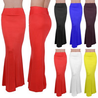Womens Ladies LONG Foldover High Waisted ELEGANT Maxi Skirt Solid Dress 6 Colors = 1946643012